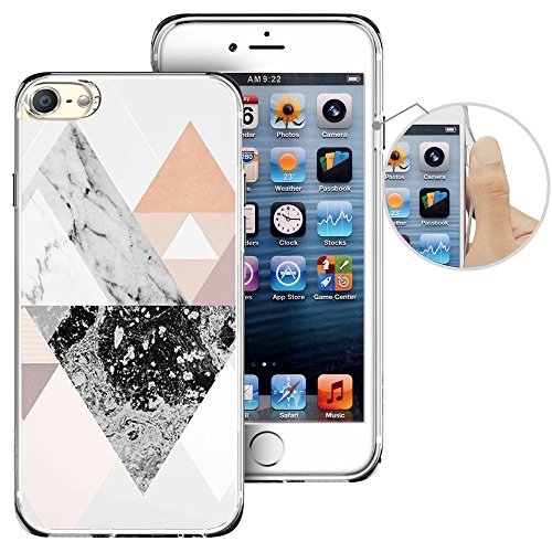 For iPod Touch 6th Case, LAACO Beautiful Clear TPU Case Rubber Silicone Skin Cover for Apple iTouch 6 - Marble triangle patchwork design ()
