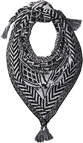 Collection XIIX Women's Border Pattern Knit Bandana, Black, One Size by Collection XIIX