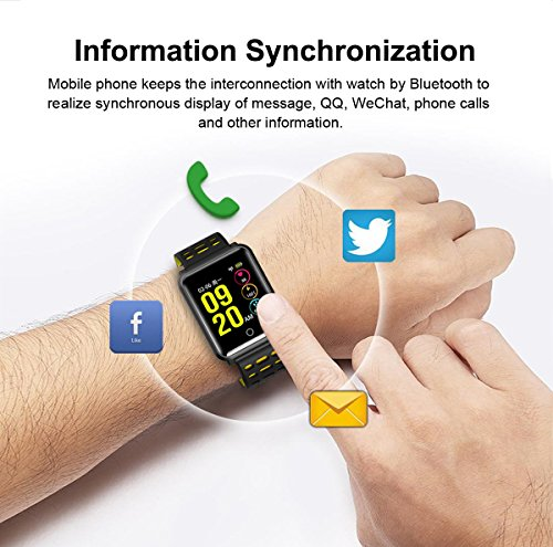 1.3'' TF2 HD Screen Sport Fitness Tracker with Blood Pressure Heart Rate Monitor IP68 Waterproof Pedometer Stopwatch Smartwatch for Kid Men Women Wristband Swim Run Travel Activity Tracker iOS Android by Symfury (Image #4)