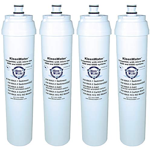 (KleenWater Brand Filters and Membrane, Compatible with Puronics/Ionics Micro Max 6500 Reverse Osmosis System, Set of 4 )