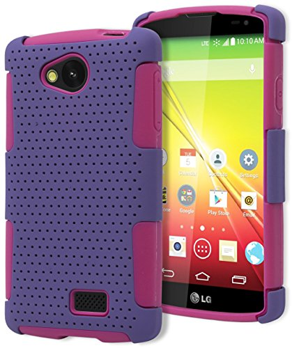 Mesh Cover Case Hybrid - LG Tribute Case, Bastex Heavy Duty Hybrid Protective Case - Soft Pink Silicone Cover with Purple Mesh Design Hard Shell Case for LG Tribute LS660