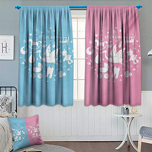 Chaneyhouse Gender Reveal Room Darkening Curtains Cute Icons Girls Boys Baby Shower Theme Stylized Toys Pattern Decor Curtains by 63