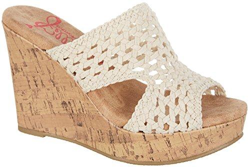 Jellypop Corona Womens Wedge Slide Sandals Natural Linen 7.5