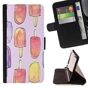 BullDog Case - FOR/Apple Iphone 5 / 5S / - / popsicle ice cream summer sweet art /- Monedero de cuero de la PU Llevar cubierta de la caja con el ID Credit Card Slots Flip funda de cuer