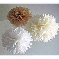 Sorive® 12PCS White Ivory Tan Tissue Paper Pom Poms Pompoms Flower Ball Wedding Birthday Anniversary Party Christmas Home Decoration SRI01859