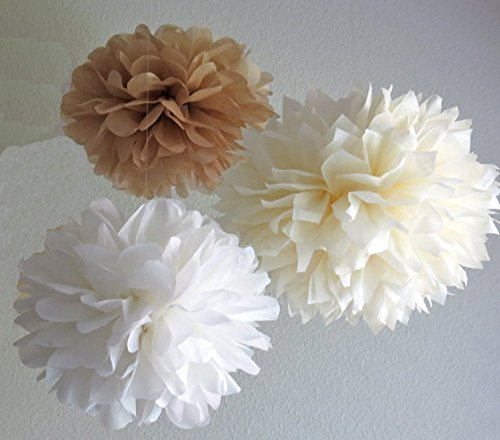 Sorive® 12PCS White Ivory Tan Tissue Paper Pom Poms Pompoms Flower Ball Wedding Birthday Anniversary Party Christmas Home Decoration SRI01859 (Tissue Paper Balls)
