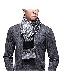 FEOYA Men's Winter Warm Festival Scarf Soft Wool Scarf Shawl Grey