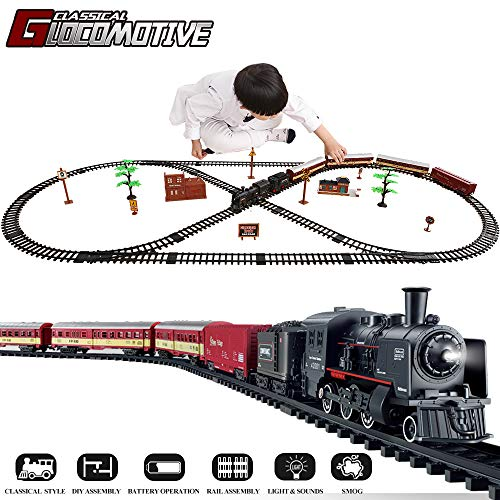 - TEMI Electronic Deluxe Railway Train Sets w/ Steam Locomotive Engine, Cargo Car and Tracks, Battery Operated Play Set Toy w/ Smoke, Light & Sounds, Perfect for Kids, Boys & Girls, Black