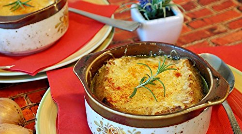 Quality Prints - Laminated 43x24 Vibrant Durable Photo Poster - Soup Onion Soup Onions Cheese Broth Beef Broth Dine Frisch Food Au Gratin Scalloped Oven Stove Delicious Nutrition Cook Kitchen Herbs