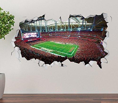 iversity of Phoenix Stadium Wall Decal Smashed 3D Sticker Vinyl Decor Mural NFL - Broken Wall - 3D Designs - OP255 (Large (Wide 40
