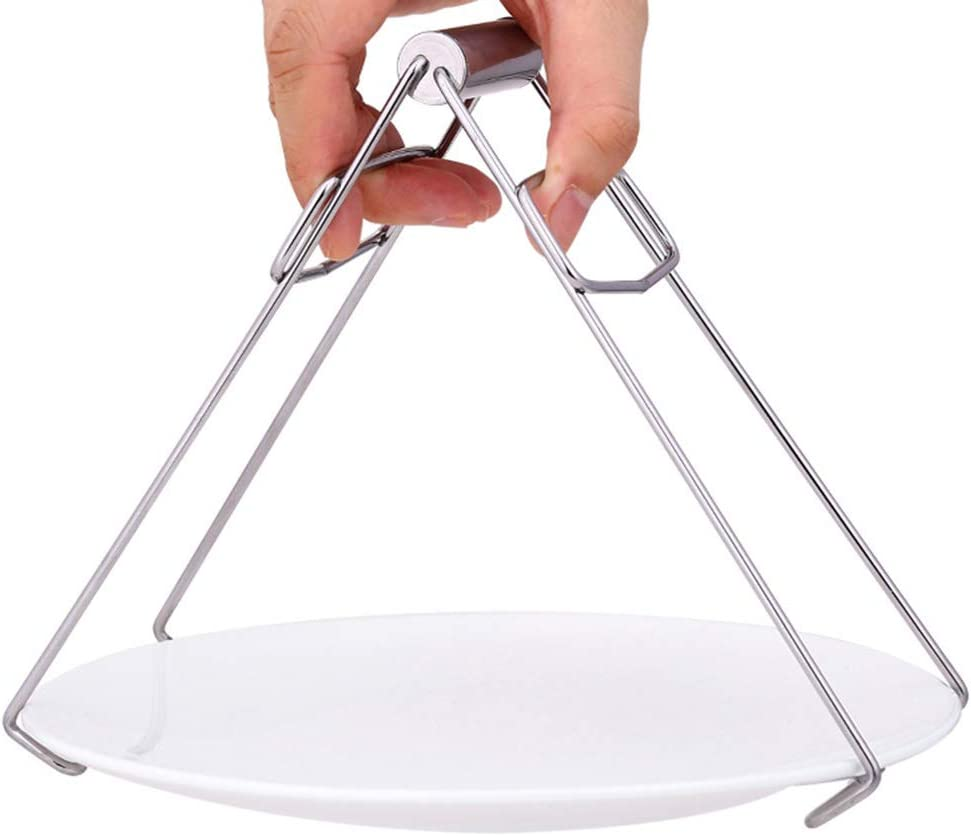 Hemoton Stainless Steel Heat Insulation Plate Gripper Multifunction Hot Dish Lifter Foldable Bowl Clip Kitchen Tools