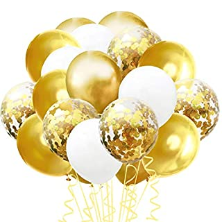 """Confetti Balloons Set, 100 Pack 12"""" Pink White Rose Red and Confetti Latex Balloons Colorful Balloon Party Kit Supplies for Wedding Birthday Graduation Celebration Baby Shower Party (Gold White)"""