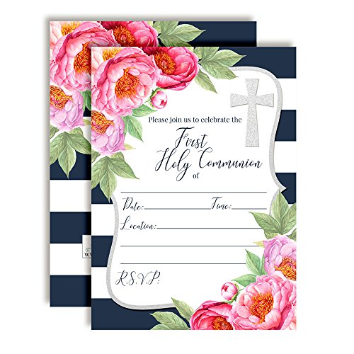 Watercolor Pink Peony First Holy Communion Religious Party Invitations with Navy Stripes, Ten 5