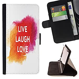 King Case - FOR Sony Xperia Z3 D6603 - live laugh love - Prima caja de la PU billetera de cuero con ranuras para tarjetas, efectivo Compartimiento desmontable y correa para la mu?eca