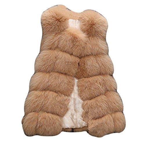 LaoZan Gilet Vest Manteau en fausse fourrure sans Manches pour Femmes Camel Clair