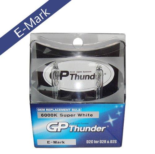 Authentic GP Thunder D2S D2R D2C E-Mark Super White 6000K HID Replacement Bulbs Headlamp Lights for Audi BMW Lexus Honda Toyota Scion Infiniti (Premium Quality Light Made from Korea) -