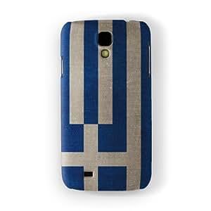Canvas Flag of Greece - I Galanolefki Funda Completa de Alta Calidad con Impresión 3D, Snap-On, Diseño Negro Formato Duro parar Samsung® Galaxy S4 de UltraFlags
