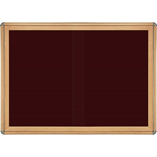 Ovation 2 Sliding Door Wood Look Felt Wall Mounted Letter Board, 3' H x 4' W Frame Finish: Maple, Surface Color: Burgundy, Color: Chrome by Ghent