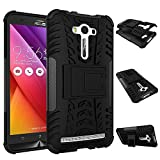 """DWay Cover ASUS ZenFone 2 Laser ZE550KL 5.5"""" Hybrid Armor Design with Stand Feature Detachable 2 In 1 Combo Dual Layer Protective Shell Hard Back Cover Case for ASUS ZenFone 2 Laser (ZE550KL/ZE551KL) 5.5 inches (Black)"""