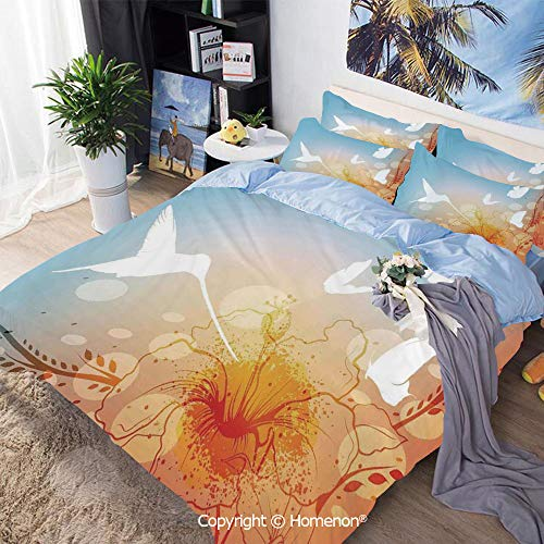 Homenon 3 Piece Bedding Set,Hummingbird and Butterflies Silhouettes Flowers Fun Summertime Garden,Full Size,for Bedroom Guest Room