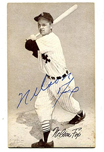 Very Nice Signed - Nellie Fox Signed 1962 Exhibit Card 3 1/4