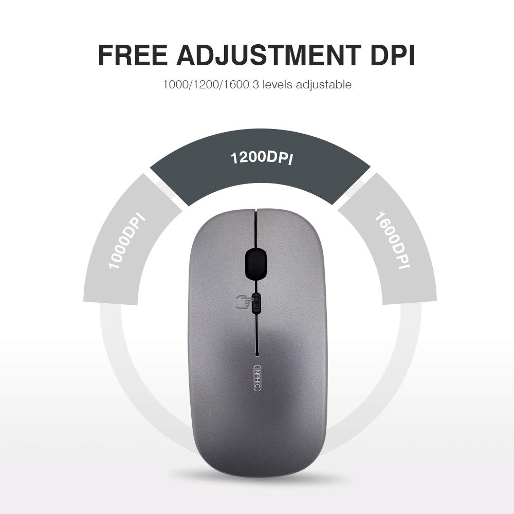 Gray Wireless Mouse inphic Slim Silent Click Rechargable 2.4G Cordless Mouse 1600 DPI USB Optical PC Computer Laptop Mouse with USB Receiver for Windows Mac MacBook Office