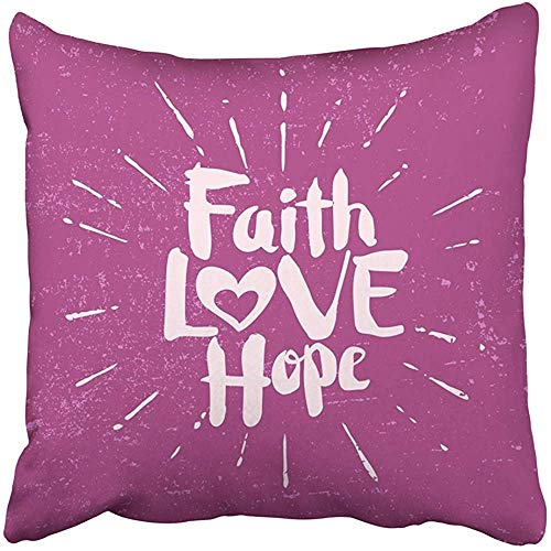 Throw Pillow Cover Decorative Polyester 18x18 Inches Quote Faith Hope Love Religious Cushion Pillow Case Square Two Sides Print Home