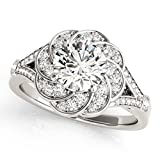 Huge 0.97 ct J-K Moissanite Engagement wedding Ring 925 Sterling Silver
