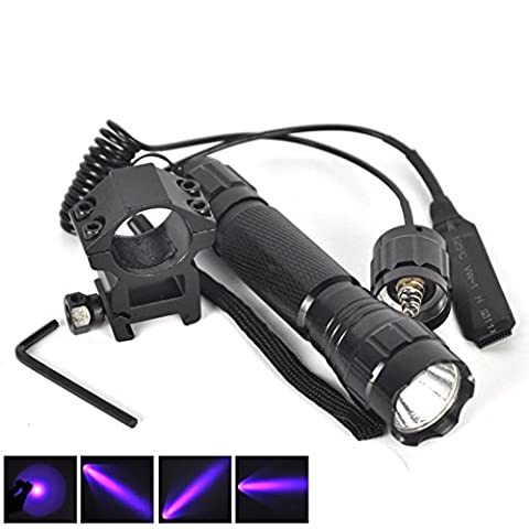 1 Set (1Pcs) Monumental Fashionable 600-Lumen UV LED Flashlights Shock Resistant Aluminum Alloy Hunting Light Coated Glass Lens Waterproof Colors Black with Mount and Remote Switch