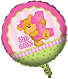 Two-Sided Mylar Foil Round Balloon, Bears First Birthday, Pink