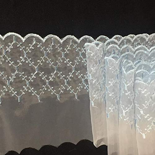 Lace Trim Embroidered Scalloped Border Zigzag Diamonds Sheer Organza, 3