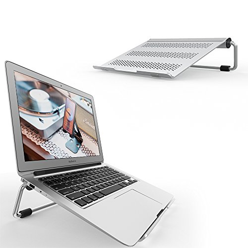 Laptop Stand, Lamicall Adjustable Notebook Stand: Desktop Ventilated Riser Holder for MacBook Air Pro, Dell XPS, HP, Microsoft Surface, Chromebooks, Lenovo, iPads and More Laptops up to 17''- Silver by Lamicall
