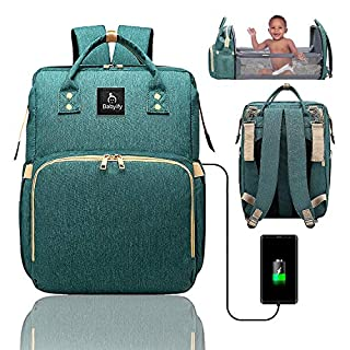 3 in 1 Green Diaper Backpack - Waterproof Purse Bag With Bassinet - Usb Charging Port - Tote With Changing Station and Portable Bed - Baby Shower Bath Gift Set - Newborn Essentials Must Haves- Babyify