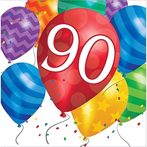 Creative Converting 32 Count 90th Birthday Balloon Blast Lunch Napkins, Multicolor (Value (90th Birthday Napkins)