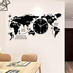 ZEETOON Creative Mute Quiet 3D World Map Wall Clock Acrylic Black Large Art Wall Clock for Kids Gifts, Decorate Home, Living room (Small)