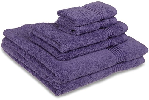 Superior Luxurious Soft Hotel & Spa Quality 6-Piece Towel Set, Made of 100% Premium Long-Staple Combed Cotton - 2 Washcloths, 2 Hand Towels, and 2 Bath Towels, Royal Purple