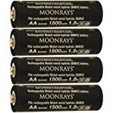 Moonrays 97143 4-Pack AA NiMh Pre-Charged Rechargeable Batteries for Solar Lights, 1500mAh