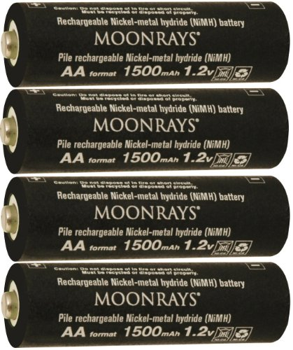 Moonrays 97143 AA NiMh Pre-charged 1500mAh Rechargeable Batteries for Solar Lights, 4-Pack