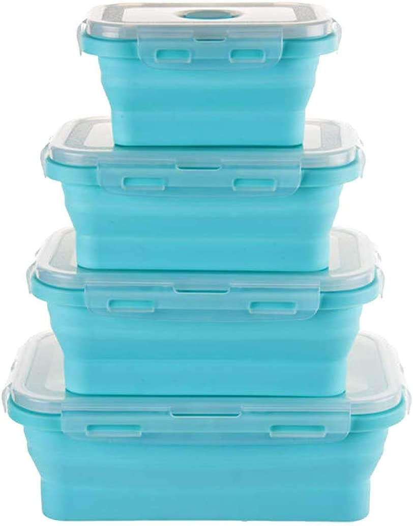 Silicone food storage containers with lids, collapsible bowls and containers for food | lunch containers | camping storage containers. Set of 4 (Blue, Rectangle)