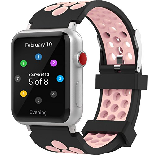 For Apple Watch Band 42mm, Penta Stars Silicone Band for Apple Watch Series 4/3/2/1, Two Tone Holes Design, Breathable, Waterproof Sport Replacement Wristband for iWatch, Pink