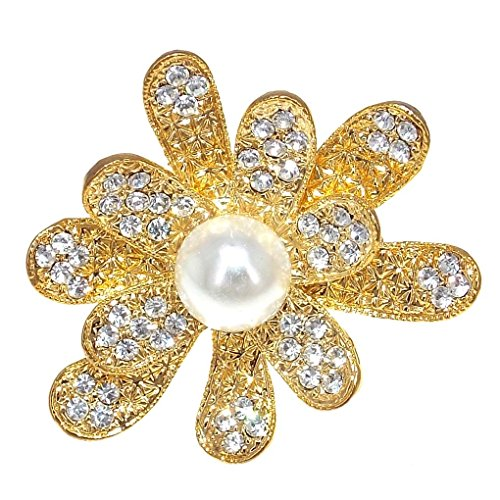 (3d Daisy Flowers Design Cocktail Open Rings for Women Rhinestone Fashion Gold Tone Pearl (White))