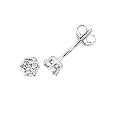 e8aea21b3 9ct White Gold 0.15ct Brillant Diamond H/SI 3mm Cluster Stud Earrings  Hallmarked: Amazon.co.uk: Jewellery