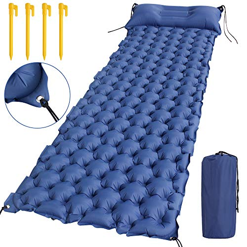 "HAUEA Inflatable Sleeping Pad Set – 2.75"" Thick Camping Mat with Adjustable Pillow, 4 Tent Peg, Air Cell Design, Copper…"