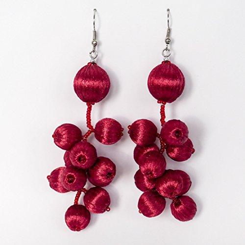 Unique Red Tassel Drop Dangle earrings for women Chandelier Big dangle teardrop earrings for girl Long dangle Bead tassel drop earrings