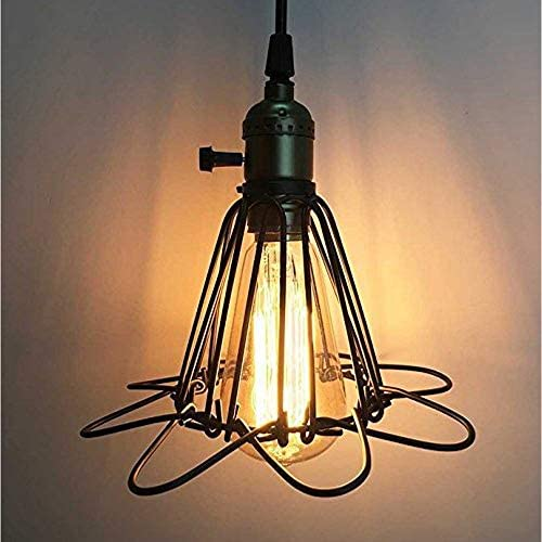 Vintage Pendant Light Wire Metal Cage Ceiling Hanging Lampshade Retro Cafe Bar Lamp Shape E27 Base Industrial Lighting Fixture Chandelier Adjustable Edison Lights 110V 40W