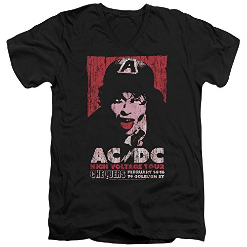 ACDC High Voltage Live 1975 Unisex Adult V-Neck T Shirt for Men and Women, Medium Black
