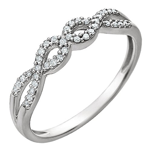 0.81 ct Ladies Round Cut Diamond Infinity-Style Anniversary Ring in 14 kt White Gold In Size 10 (Gold Infinity 10 Ring Kt)