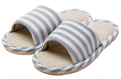 HW-GOODS-Womens-Blue-Stripe-Open-Toe-Hemp-Slippers