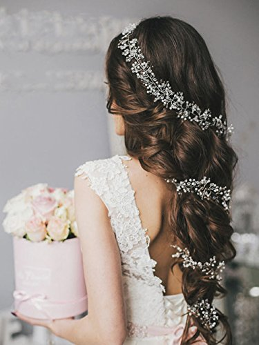 Unicra Wedding Bridal Headpiece Long Crystal Hair Vine Headbands Wedding Hair Accessories for Brides and Bridesmaids by Unicra