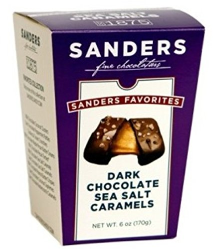 Gourmet Dark Chocolate Sea Salt Caramels - Sanders Fine Chocolates 6oz Box - Classic Caramel covered in premium Dark Chocolate + sprinkled w/ sea salt | THE ANSWER TO YOUR SWEET & SALTY CRAVINGS!